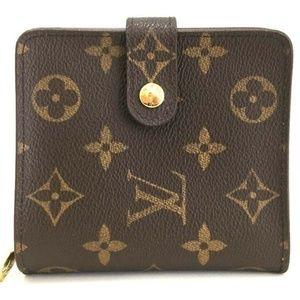 100% Auth Louis Vuitton Compact Zip Bifold Wallet